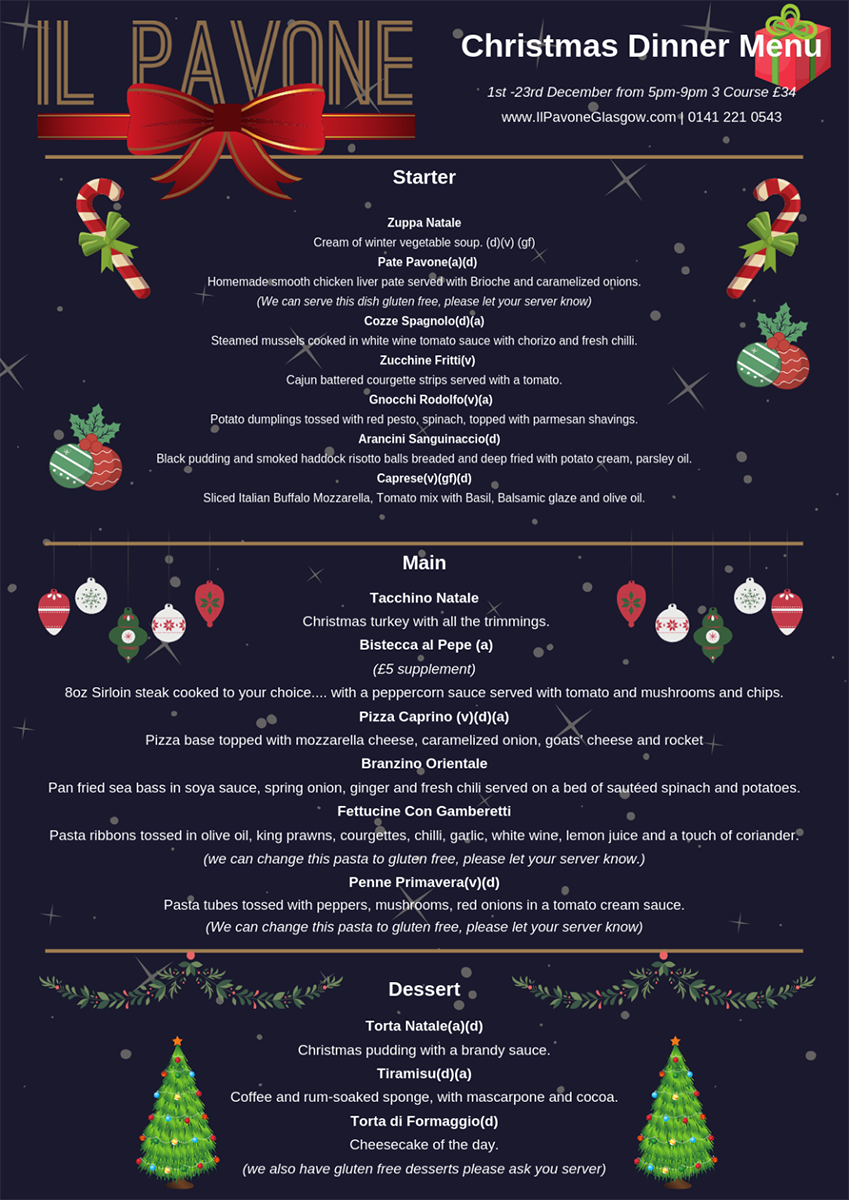 Christmas Dinner Menu.Christmas Menu Il Pavone Restaurant