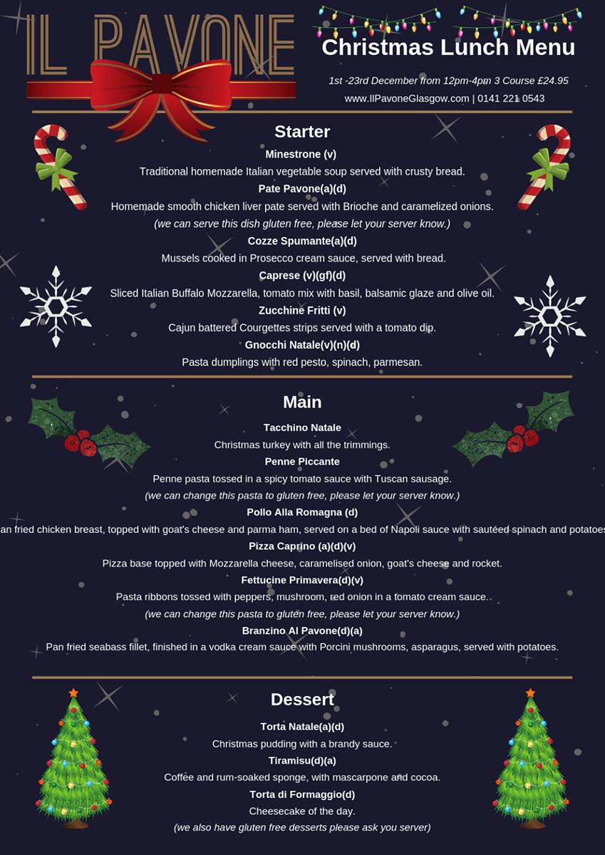 Christmas Dinner Restaurants Near Me 2019.Christmas Menu Il Pavone Restaurant